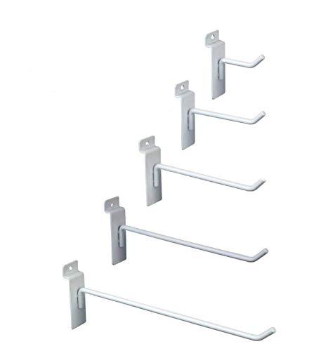ial Grade White Slatwall Hooks - Combo Pack of 50 Assorted Size White Peg Hooks for Slatwall - (10) of Each 2