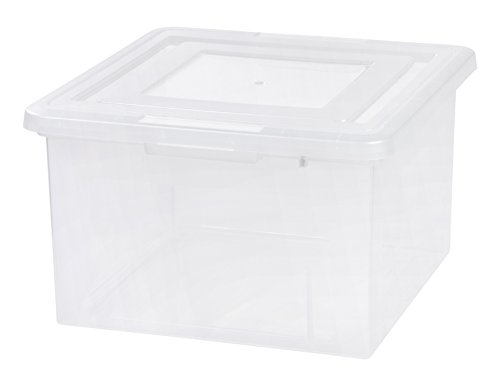 IRIS USA FB-LL Letter and Legal Size File Box, Clear, Medium with Dual File, 4 (Clear Case Legal)