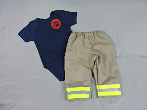 Firefighter Baby Outfit Tan Bunker Gear Look New Born Photo Prop