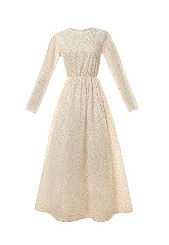 ROLECOS Pioneer Women Costume Floral Prairie Dress Cotton Deluxe Colonial Dress Yellow S]()