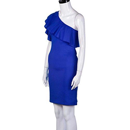 Vestidos de fiesta cortos, Culater fuera del hombro hoja de loto mini vestido Azul