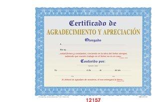 Appreciation Church Certificates - Certificado De Agradecimiento Y Apreciacion [Paquete De 12]