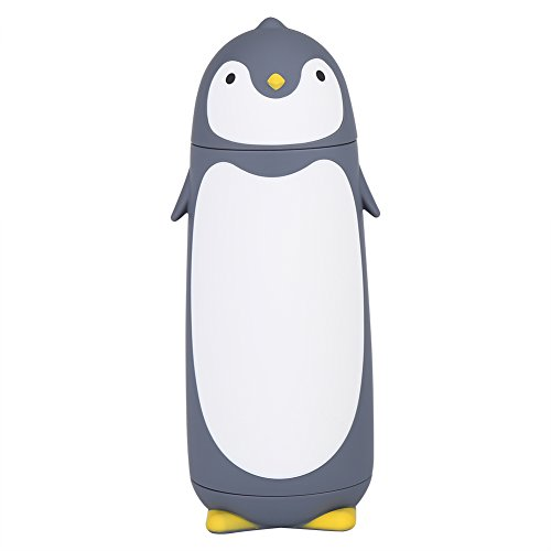 Zerodis 300ml Cute Penguin Water Bottle Double Layer Frosted Texture Leak-Proof Glass Drinking Water Bottle with Silicone Sleeve(Gray)