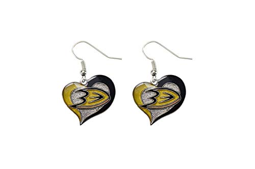 NHL Anaheim Ducks Swirl Heart Earrings ()