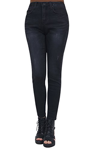 Skinny Denim Stretchy Washed Waistband Distressed Cotton Negro Jeans Ililily Pants pqFawPAF