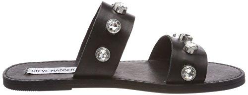Steve Madden Jessy Flat Sandal, Sandalias con Punta Abierta Para Mujer Schwarz (Black)