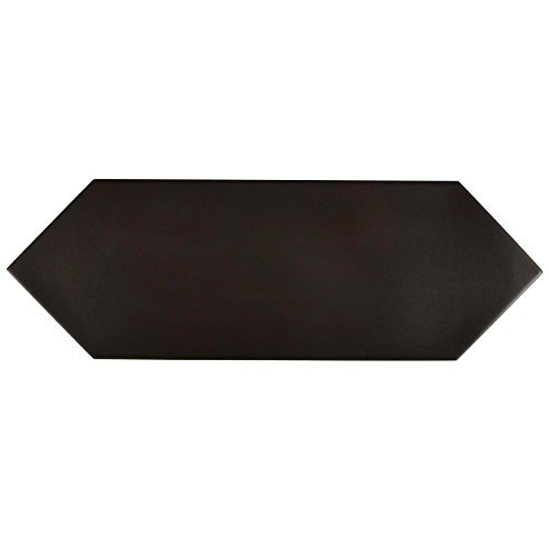 SomerTile FEQ12KBK Cometi Porcelain Floor & Wall Tile, 4'' x 11.75'', Black by SOMERTILE