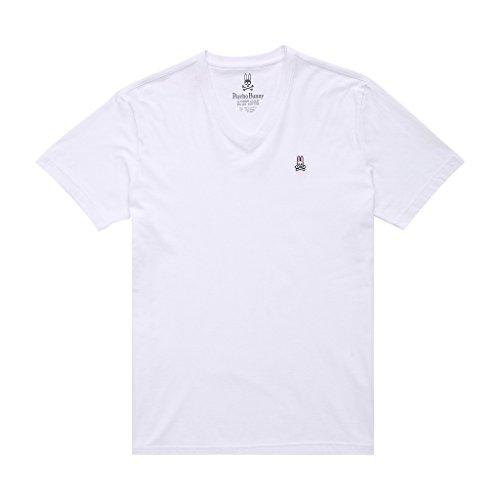 (Psycho Bunny Men's Short Sleeve Casual V Neck Bunny Tee T Shirt/Undershirt, White, L)