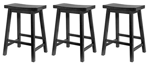 Winsome Square Seat (Winsome Wood 24-Inch Saddle Seat Counter Stool, Black (Pack of 3))