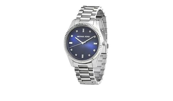 7897aa85fb5d Amazon.com  Silver Michael Kors Blake Silver Stainless Steel Blue Dial Women S  Watch Mk3225  Watches