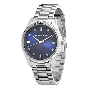 ec072a94917b Image Unavailable. Image not available for. Color  Silver Michael Kors  Blake Silver Stainless Steel Blue Dial Women S Watch Mk3225