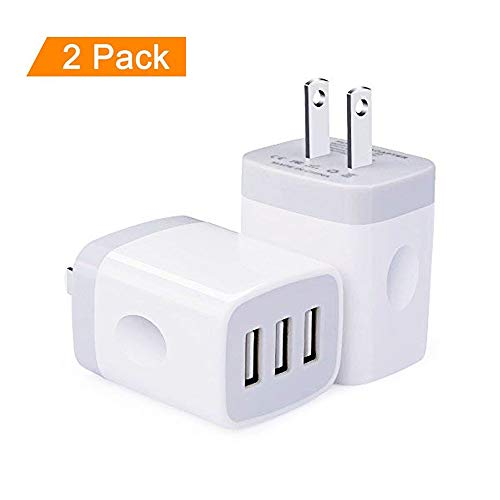 Wall Charger, 3 Multi Port USB Charger, 2-Pack 5V/3.1A Smart Portable Quick Charge Cell Phone Power Adapter Plug Block Cube Charging Station for iPhone X 8 7 6 6S Plus 5S 5 SE 4S, iPad, iPod, Samsung