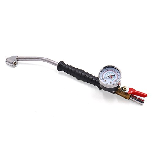 (uxcell 0-220 psi Quick Connector Bent Head Car Tire Air Chuck Inflator Pressure Gauge)