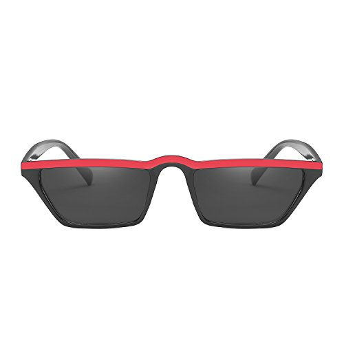 Vintage Eyewear black Sunglasses Retro Women Fashion Eye Small red Cat Top Shade Flat vwaqx87S