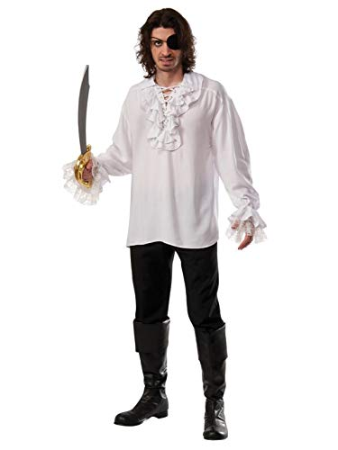 Rubie's Costume Co Pirate Shirt with Lace-Up Ruffled Neckline, White, Standard for $<!--$21.95-->