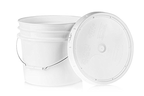 3.5 Gallon White Plastic Bucket & Lid - Durable 90 Mil All Purpose Pail - Food Grade - Contains No BPA Plastic - Recyclable - 5 pack ()