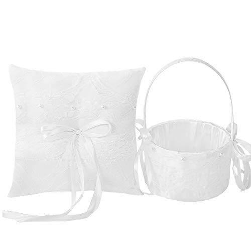 - M&A Decor Flower Girl Basket Ring Bearer Pillow Set for Wedding White Lace Elegant Ring Holder with Pearls for Bride Groom Keepsake Wedding Gifts,2019 New