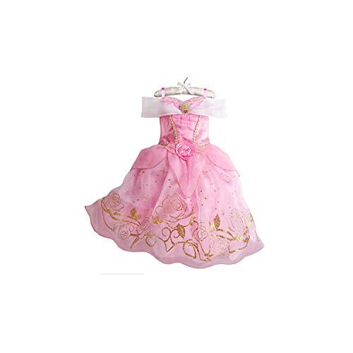 Girl Costume Cinderella Snow White Cosplay Princess Rapunzel Aurora Belle,Pink,7 -
