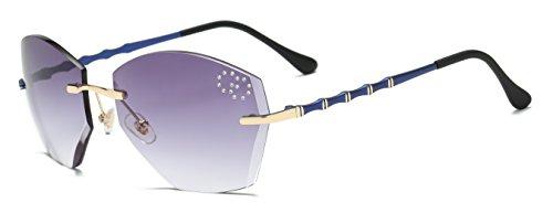 VOLCHIEN Rimless Rhinestone Geometric Sunglasses Women UV Protection Grey Polygon Lens Blue Metal Bamboo Joint Arm Fashoin Design UV Protection - Rhinestones With Sunglasses