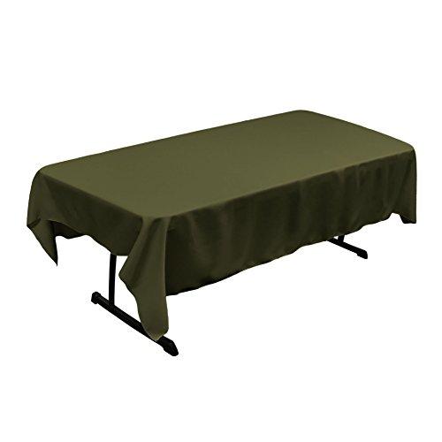 LA Linen Polyester Poplin Rectangular Tablecloth, 60 x 84, Olive
