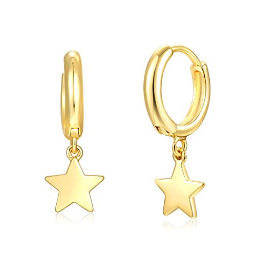 (Cute Gold Tiny Star Dangle Huggie Hoop Earrings,Hinged Hoop Cuff Earrings Huggie Stud Earrings for Women)