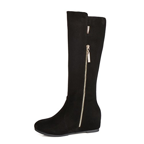 AgooLar Women's Mid Top Solid Zipper Round Closed Toe Kitten Heels Boots Black ht9XhTPG
