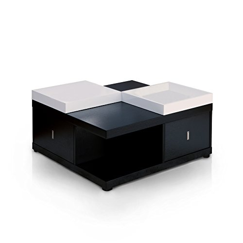 ioHOMES Morgan Square Coffee Table with Serving Tray, Black (Table Set Storage Cocktail)