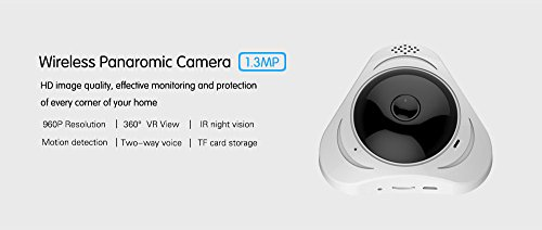 1.3Megapixel 360° Fisheye Panoramic VR Wireles Wifi IP Camera Two Way Audio Night Vision For Home Security Small Packing