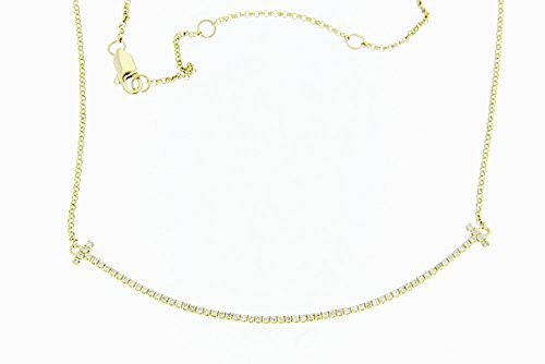 JDM 14KT Yellow Gold & Diamond Curved Cross Necklace (1/4ct