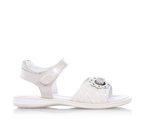 NERO GIARDINI - Beige Sandale aus Leder und Spitze, mit Klettverschluss, Logo auf Verschluss, Mädchen