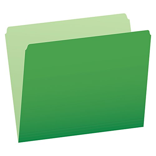 Pendaflex Two-Tone Color File Folders, Letter Size, Bright Green, Straight Cut, 100/BX (152 BGR)