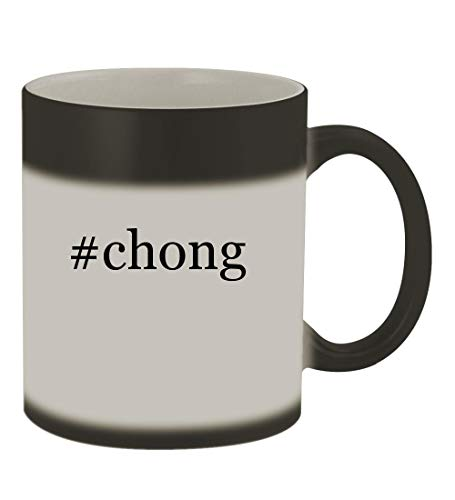 #chong - 11oz Color Changing Hashtag Sturdy Ceramic Coffee Cup Mug, Matte Black -