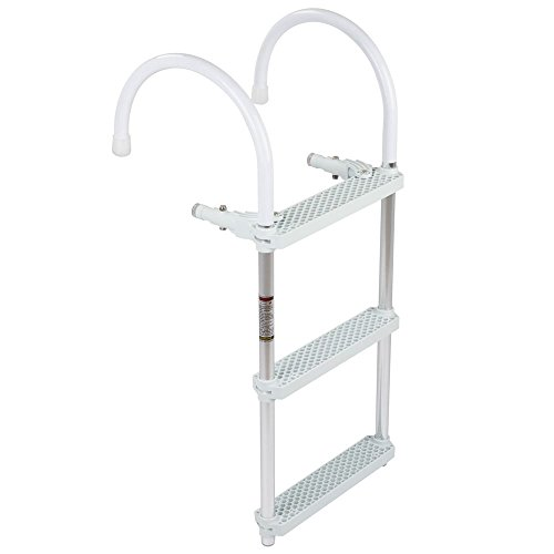 Rage Powersports 3-Step Portable Hook-on Boat Boarding Ladder (3 Step Dock Ladder)