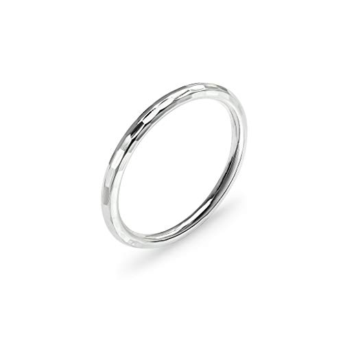 (925 Sterling Silver Polished Hammered Stackable 2mm Wedding Band Ring   Size 6)
