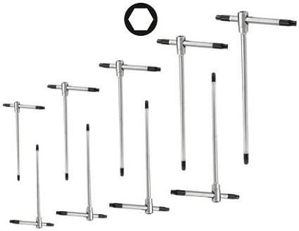 Set di chiavi esagonali a T con aggancio multiplo ed asta scorrevole 9 pezzi 2,5