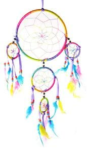 Dream Catcher with feathers wall hanging decoration ornament brightly colored ,d -16 cm., 40 cm. Long, 49994