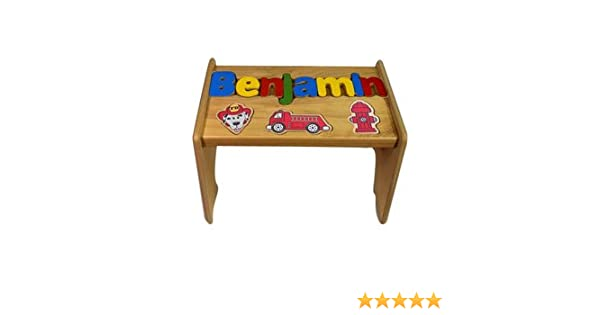 Awe Inspiring Babykidsbargains Personalized Fire Truck Wooden Puzzle Stool Stool Color Natural Letter Color Primary 1 8 Letters Bralicious Painted Fabric Chair Ideas Braliciousco