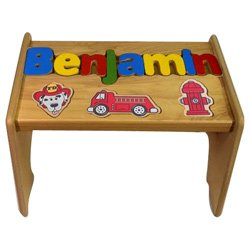 Personalized Fire Truck Wooden Puzzle Stool- Stool Color: Natural, Letter Color: Primary, 1-8 Letters by babykidsbargains