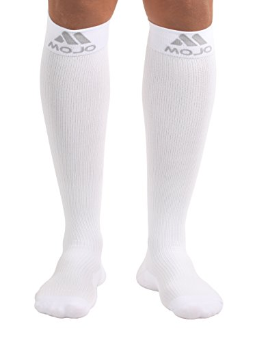 Mojo Compression Socks, Comfortable Coolmax Material for Recovery & Performance. Medical Support Socks - Firm Support, Size Large,White -Compression stockings for women & Compression socks for men by Mojo Compression socks