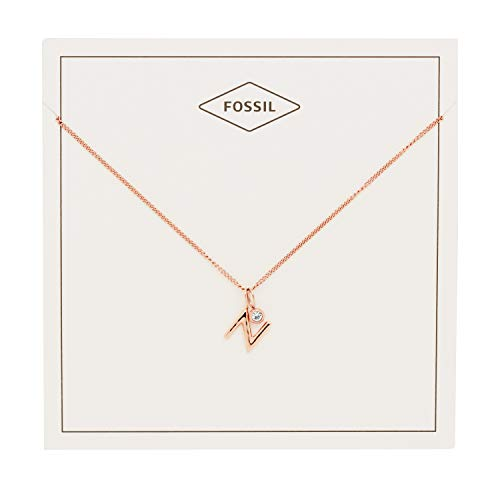 Fossil Rose Pendant (Fossil Women's Letter N Rose Gold-Tone Stainless Steel Necklace, One Size)