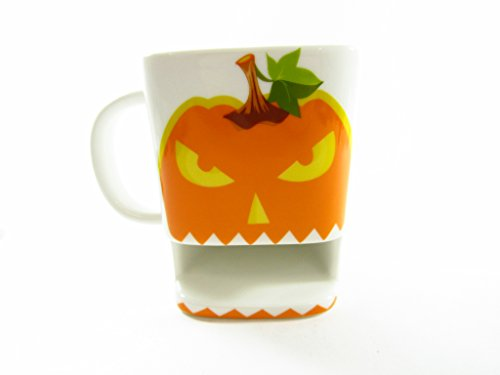 OliaDesign Pumpkin Cookie Mug, White (Pumpkin Coffee Mug)