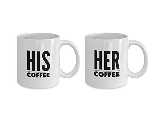 HIS and HER Coffee Mugs - Husband Wife Gift - Set for COUPLES - Boyfriend Girlfriend - white coffee tea cups 11oz 15oz