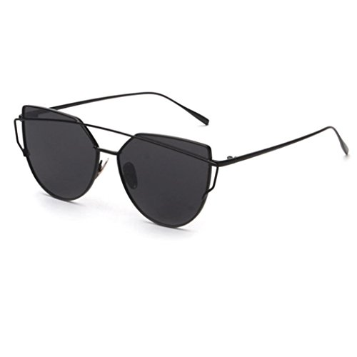 Fashion Twin-Beams Classic Women Metal Frame Mirror Sunglasses Cat Eye Glasses,Tuscom - Frames Black Eye