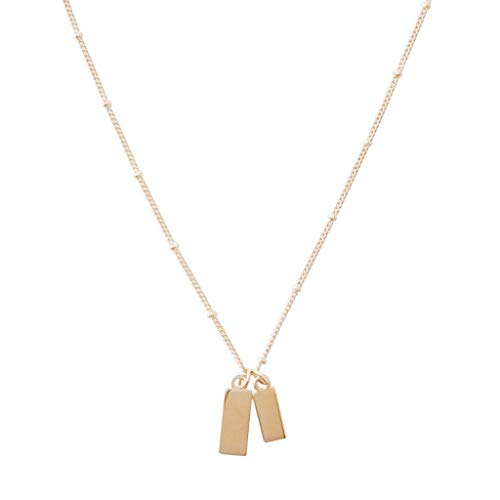 HONEYCAT Small Dog Tag Together Necklace in Gold, Rose Gold, or Silver | Minimalist, Delicate Jewelry (Rose Gold) ()