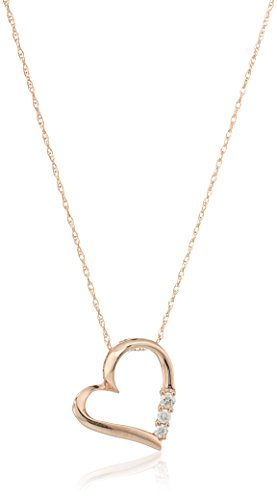 10k Rose Gold Diamond 3-Stone Heart Pendant Necklace (1/10cttw, I-J Color, I2-I3 Clarity), 18