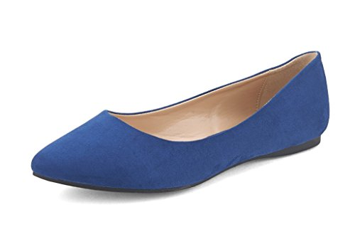 DREAM PAIRS Sole Classic Women's Casual Pointed Toe Ballet Comfort Soft Slip On Flats Shoes Navy Suede Size 12
