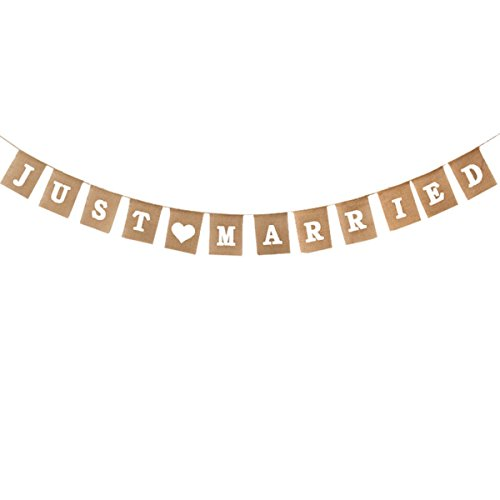 (Tinksky JUST MARRIED Letter Burlap Wedding Signs Garlands And Bunting Banners)