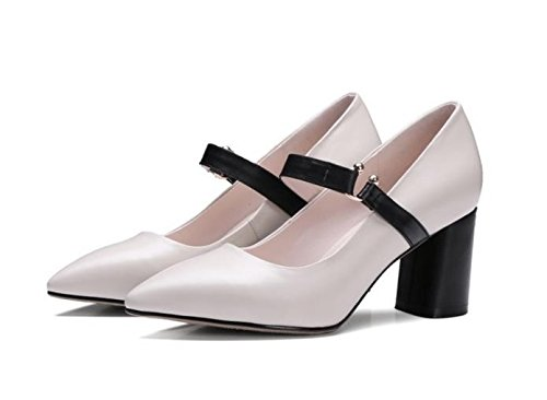 blanco arroz y Moda cm cinco salvaje de elegante Zapatos tacon de Transpirable zapatos puntiagudos 7 grueso zapatos AJUNR mujer Treinta Sandalias alto de 36 Solo 6OBd6qw