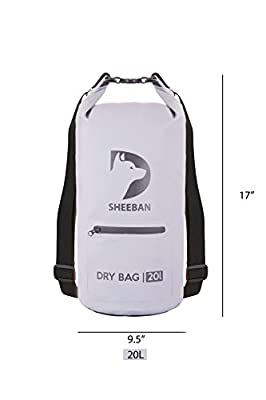 SHEEBAN Premium Waterproof dry bag,Floating Dry Sack with Exterior Zipper Pocket Large Backpack Straps for Kayaking / Boating / Canoeing / Fishing / Swimming / Camping / Hiking / Snowboarding / Beach
