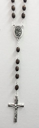 Limited Edition St Joseph Rosary - Wooded Beads Silver tone St Joseph Center Piece Gift (Wooded Olive)